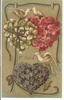 L120B144 - Premier Avril -  Coeurs En Fleurs Avec Colombes Et Ruban Doré - Carte Gauffrée - 1er Avril - Poisson D'avril