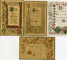 Lot De 4 Images Pieuses - Enluminures De 1888-1890-1892-1910 - Imágenes Religiosas