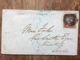 GB Victoria 1849 Cover To Leeds Tied With 1d Red Imperf - Covers & Documents