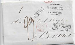 Ham037 / HAMBURG 1841 CPR3 Via Bremen Nach Bordeaux - Duitsland