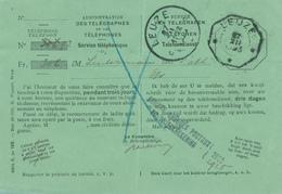 142/29 - Carte De Service Télégraphes Et Téléphones LEUZE 1923 - Cachets Télégraphique Et Postal - Telegraph