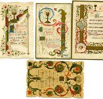 Lot De 4 Images Pieuses De 1ère Communion -  Enluminures De 1895-1896-1911 - Imágenes Religiosas