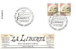 ITALIA - 1983 PIACENZA Centenario Del Quotidiano LA LIBERTA' - Francobolli