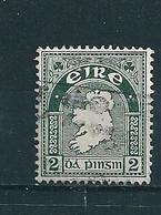 N° 81 Carte De L'Irlande Filigrane E Timbre Irlande (1941) Oblitéré - 1937-1949 Éire
