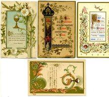 Lot De 4 Images Pieuses De 1ère Communion -  Enluminures De 1888-1890-1891 - Imágenes Religiosas