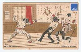 Jolie Chromo Dorée Gibert Clarey Salle Armes Maître épée Duel Escrime Fencing Sword French Victorian Trade Card A5-84 - Chromo