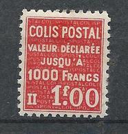 FRANCE - 1939 - Colis Postaux - Y.T. N°168 - 1 F. Rouge - Valeur Déclarée - Neuf* - TTB - Colis Postaux
