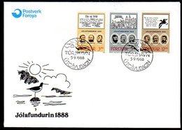 FAROE IS. 1988 Centenary Of Christmas Meeting On FDC.  Michel 172-74 - Faroe Islands