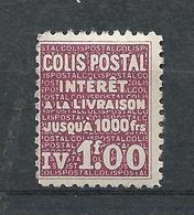 FRANCE - 1939 - Colis Postaux - Y.T. N°172 - 1 F. Lilas - Intérêt à La Livraison - Neuf* - TTB - Colis Postaux