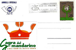 ITALIA - 1970 TARANTO Sagra Del Mandarino - Annullo A Targhetta - 8 - Agricoltura