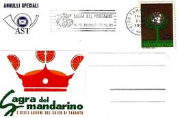 ITALIA - 1970 TARANTO Sagra Del Mandarino - Annullo A Targhetta - Frutta