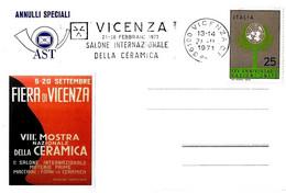 ITALIA - 1971 VICENZA Salone Internazionale Della Ceramica - Annullo A Targhetta - Vacanze & Turismo