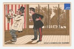 Jolie Chromo Dorée Gibert Clarey Appareil Téléphone Cocher Servant Coachman Attelage French Victorian Trade Card A5-87 - Other