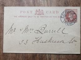 GB Victoria 1887 Postcard Exchange Liverpool Postmark - `Ladies Parochial Bible And Domestic Mission` - 1840-1901 (Victoria)