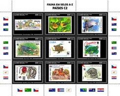 Guinea Bissau 2019, Stamp On Stamp, WWF, Frog, Birds, Parrot, Snake, 9val In BF - Stamps On Stamps