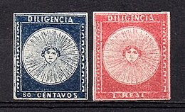 1856 Uruguay Diligencia 60 Centavos (MNH) & 1 Real (MLH) XF, Rarely Offered In This Condition Michel 1b & 3a GENUINE (56 - Uruguay