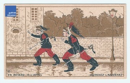 Jolie Chromo Dorée Gibert Clarey Humour Retard Appel Adjudant Armée Militaria Infanterie Army Victorian Trade Card A5-90 - Other