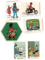 Autocollants Hergé Tintin Haddock Milou, Vache Qui Rit 1972, 1976, Scans Recto Verso........... - Autocollants