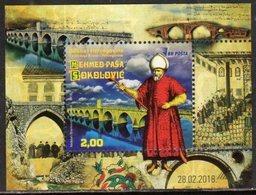 BOSNIA, MUSLIM, 2018, MNH, MEHMED PASA SOKOLOVIC, BRIDGES, S/SHEET - Bridges