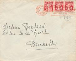 144/29 - CROIX ROUGE Belgique - Enveloppe TP Cérès BRUXELLES 1933 - Slogan Bilingue En ROUGE Soignez Vos Dents - Croix-Rouge