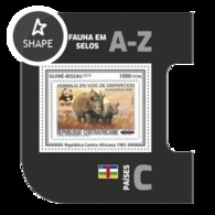 Guinea Bissau 2019, Stamp On Stamp, WWF, Rhino, BF - Stamps On Stamps