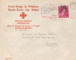 145/29 - CROIX ROUGE Belgique - Enveloppe TP Moins 10 % BRUXELLES 1946 - Entete Croix Rouge De Belgique - Croix-Rouge