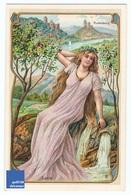 Jolie Chromo Allemande Parfumerie Offenbach Germany Rudelsburg Saale Chateau Rudel Femme Art Nouveau Jugendstil A5-91 - Other