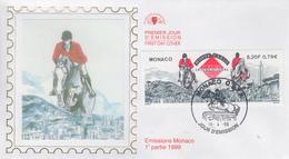 Enveloppe  FDC  1er   Jour   MONACO    Véme  Jumping   International  à   MONTE  CARLO    1999 - Jumping