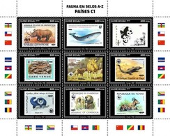 Guinea Bissau 2019, Stamp On Stamp, WWF, Rhino, Whale, Panda, Lizard, Monkeys, 9val In BF - Stamps On Stamps