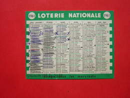 CALENDRIER PETIT FORMAT 10.5 X 8 CM 1961  LOTERIE NATIONALE - Calendars