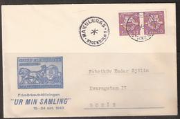 """Sweden 1943 Cover Stamp Exhibition """"ur Min Samling""""  Cancelled Makuleras  Stockholm 1 - Schweden"""