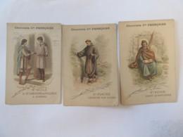 Chromo Chocolat Compagnie Française Paris 1900 - Saints (St Fiacre, St Seine, St Bazile/St Grégoire) - 3 Exemplaires - Chocolate