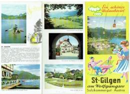 Dépliant. St.Gilgen Am Wolfgangsee. Salzkammergut.  Austria. Illustrateur : Fischl. - Dépliants Touristiques