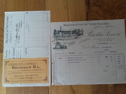 Limoges Hte Vienne Bastin Lenoir +pub Graisse Martin 1906 - Petits Métiers