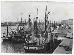 (RECTO / VERSO) BOULOGNE SUR MER - FLOTILLE DE PECHE AU REPOS - N° 1574 - CPSM GF  RECOUPEE VOYAGEE - Boulogne Sur Mer