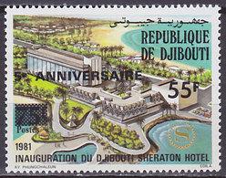 Timbre Neuf ** N° 628(Yvert) Djibouti 1986 - Anniversaire De L'hôtel Sheraton Surchargé - Djibouti (1977-...)