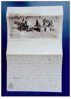 Papier à Lettre En  Tête Photo - Piece De 70 En Batterie Pendant La Campagne -  Ministère Des Colonies , Belgique - Régiments