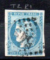 FRANCE - 1870 - YT N° 45A - Report 1 - Cote: 130,00 € - 1870 Bordeaux Printing