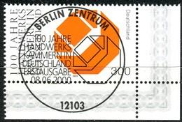A13-27-1) BRD - Mi 2124 ECKE REU - Zentrisch OO Gestempelt - 300Pf   100 Jahre Handwerkskammern - Oblitérés