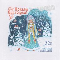 2018-2410 1v Russia Happy New Year !  Christmas Birds Forest Snow Maiden, Snegurochka, Snowgirl Mi 2633 MNH - 1992-.... Federazione
