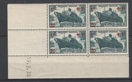 CD 502 FRANCE 1939 COIN DATE 502  : 19 / 8 / 39 LANCEMENT DU PAQUEBOT PASTEUR AU PROFIT DES OEUVRES DE LA MER - Coins Datés