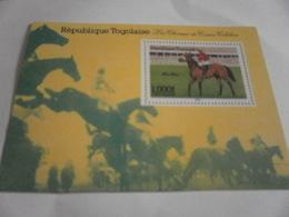 Miniature Sheet Perf  Les Chevaux De Course Horse Racing Jumps - Togo (1960-...)