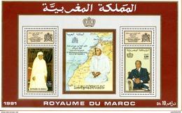 "Maroc,1991,bloc Feuillet,BF 20, "" 30ème Anniversaire De L'intronisation D'Hassan II "" Neuf**,MNH;Morocco,Marruecos - Morocco (1956-...)"