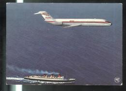 CPSM Publicitaire Iberia - DC 9 - Semble Voler Au-dessus Du Paquebot Normandie - 1946-....: Ere Moderne