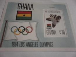 Miniature Sheet Perf  1984 Olympics Football - Ghana (1957-...)