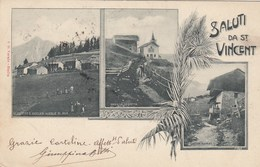 SAINT VINCENT-AOSTA-SALUTI MULTIVEDUTE(3 IMMAGINI)-CARTOLINA  VIAGGIATA IL 4-8-1902 - Aosta