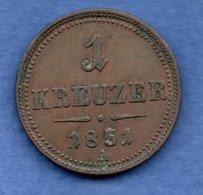 Autriche  -  1 Kreuzer 1851 A  --  Km # 2185 --  état  TTB - Austria