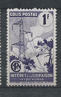 FRANCE - 1944-45 - Colis Postaux - Y.T. N°220A - 1 F. Violet - Intérêt à La Livraison - Avec Filigrane A - Neuf* - TTB - Mint/Hinged