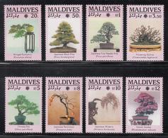 1991 Maldives Bonsai Trees Arbres   Complete Set Of 8 MNH - Maldives (1965-...)