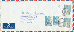 Turkey Air Mail Cover Sent To Denmark 16-9-1974 Topic Stamps - 1921-... Republic